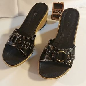 Madeline Stuart Black Leather Wedges
